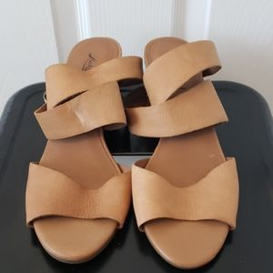 Lucky Brand Leather Wedge Ankle-wrap Sandals